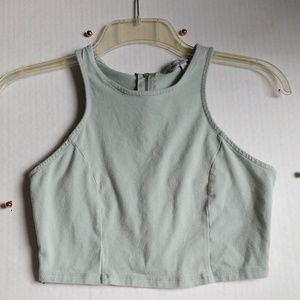 Charlotte Russe High Neck Zipper Crop Top